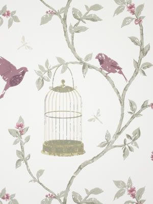 Birdcage Walk Wallpaper in gray color by Nina Campbell