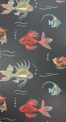 Aquarium Wallpaper in black and multi-color from the Perroquet Collection by Nina Campbell