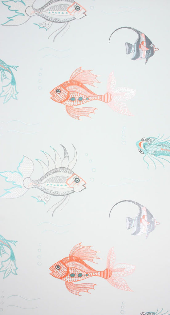 Sample Aquarium Wallpaper in silver from the Perroquet Collection by Nina Campbell