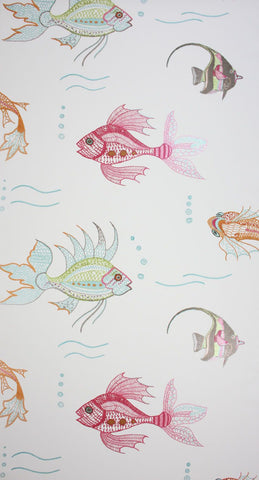 Aquarium Wallpaper in multi-color from the Perroquet Collection by Nina Campbell