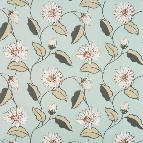 Giverny Wallpaper in turquoise and beige color by Nina Campbell