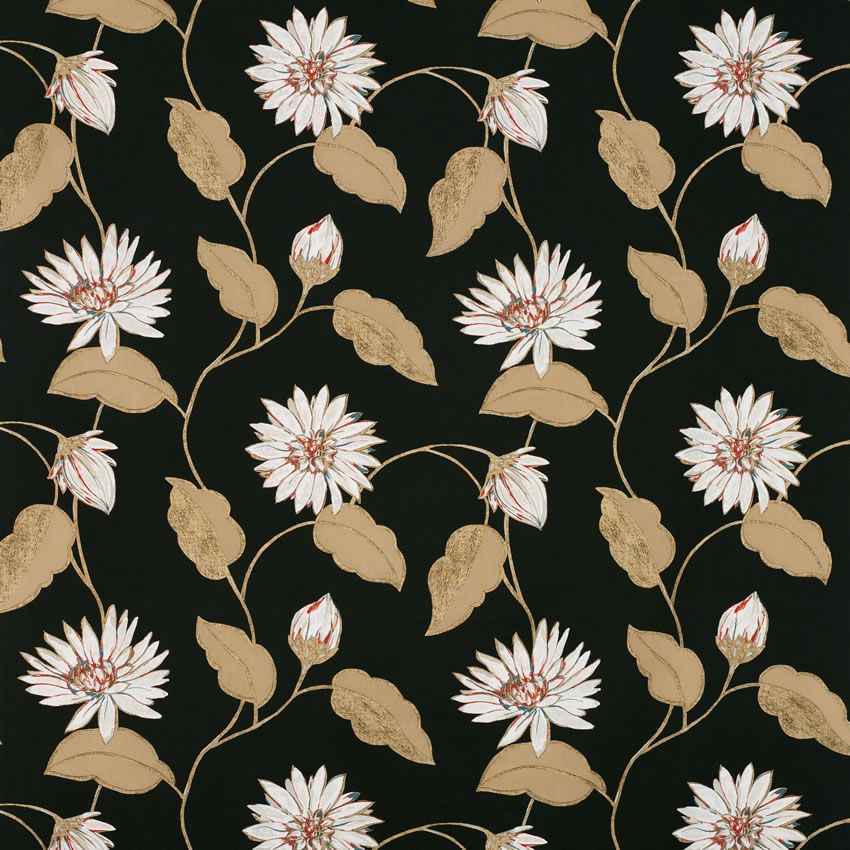 Giverny Wallpaper in black and brown color by Nina Campbell