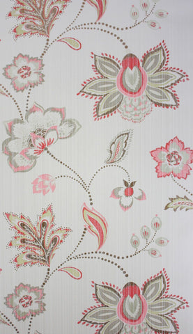 Aubree Wallpaper in red and ivory from the Giverny Collection by Nina Campbell