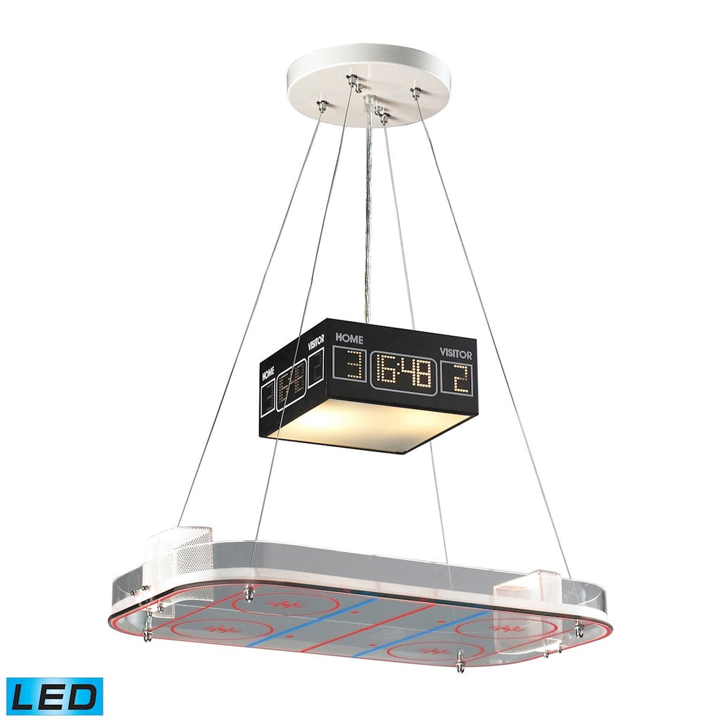 Novelty 2-Light Island Light in Silver with Hockey Arena Motif - Includes LED Bulbs by BD Fine Lighting