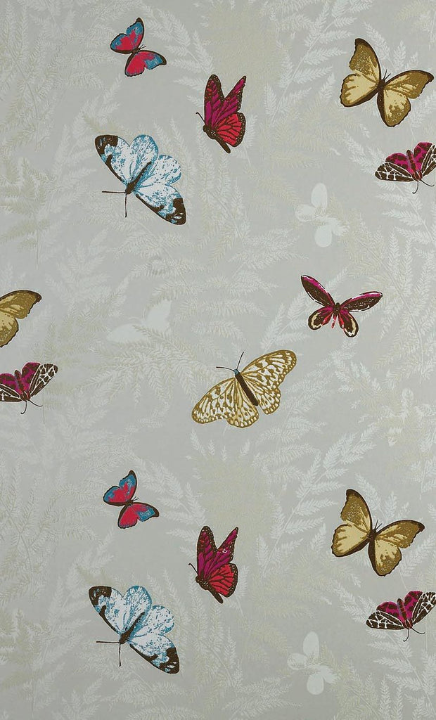 Farfalla Wallpaper in tan background with Brilliantly coloured butterflies from the Lombardia Collection by Nina Campbell