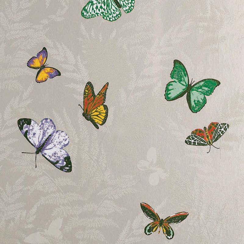 Farfalla Wallpaper in Beige background with Brilliantly coloured butterflies from the Lombardia Collection by Nina Campbell