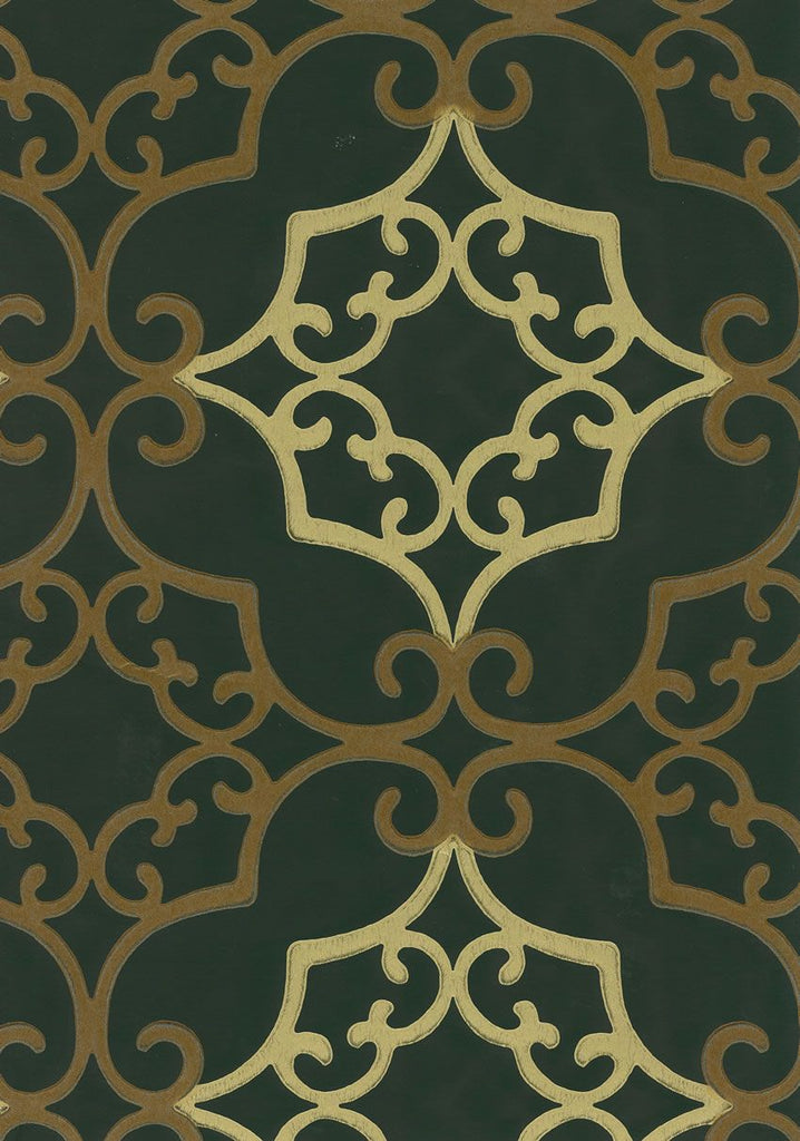 Amati Wallpaper in ivory and greeb from the Lombardia Collection by Nina Campbell