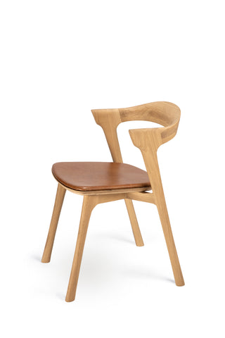 Oak Bok Dining Chair - Cognac Leather - Varnished