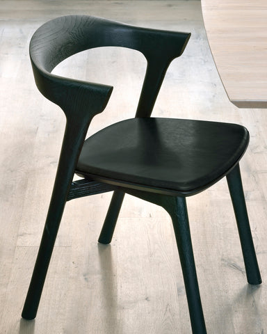 Oak Bok Black Dining Chair - Black Leather - Varnished