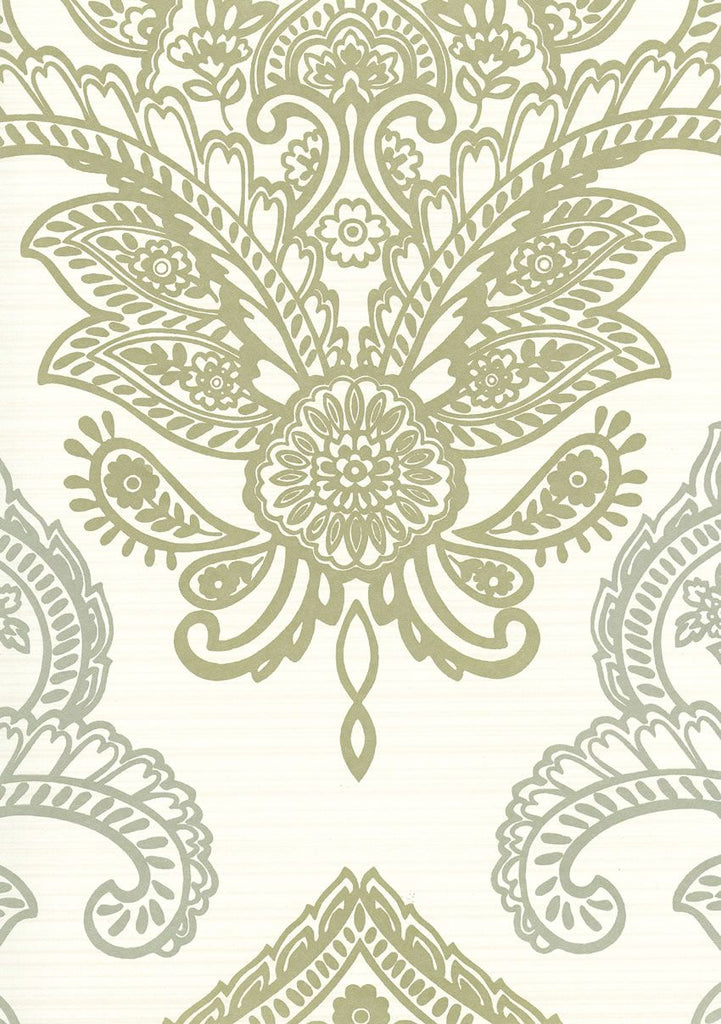 Sample Bergonzi Wallpaper in green from the Lombardia Collection by Nina Campbell