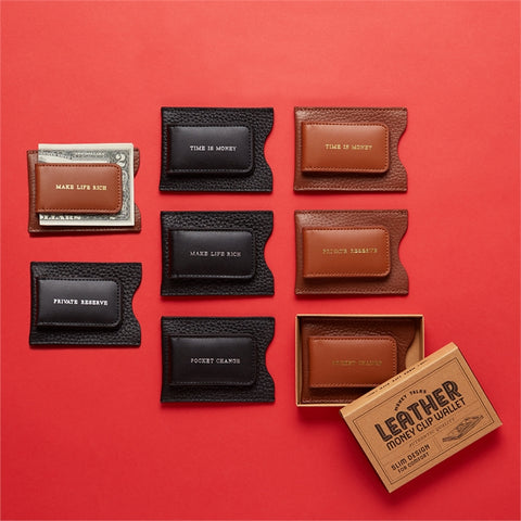 Money Talks Genuine Leather Money Clip/Card Case in Assorted Colors & Sayings design by Twos Company