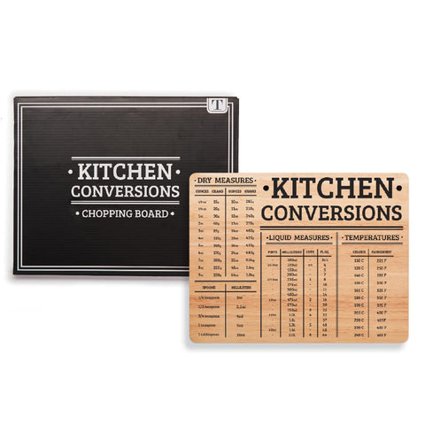 Kitchen Helper Culinary Units Conversion Chart Cutting Board in Gift Box