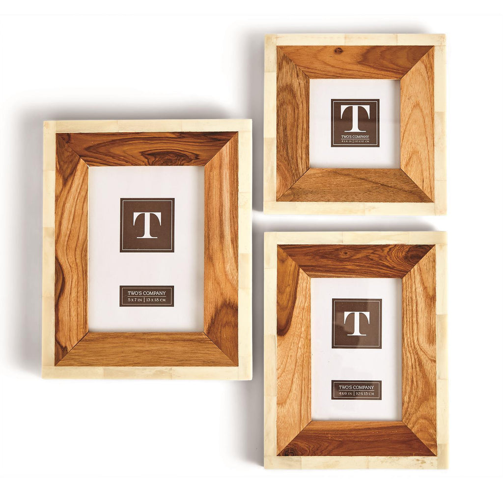 Framework Wood and Bone Photo Frames, Set of 3