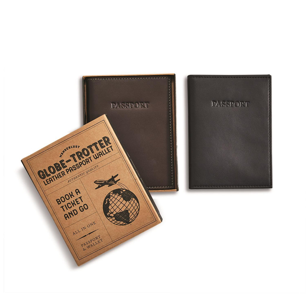 Wonderlust Genuine Leather RFID Passport Holder in Gift Box in Various Colors