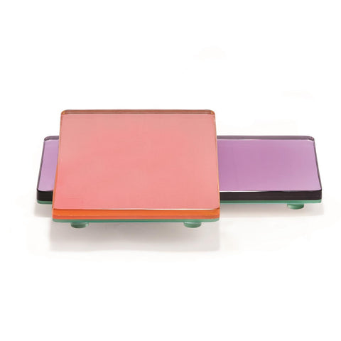 Mirrored Glass Block Tray in Various Colors
