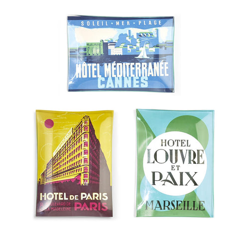 Grand Hotels Vintage Luggage Label Trinket Tray, Various Styles