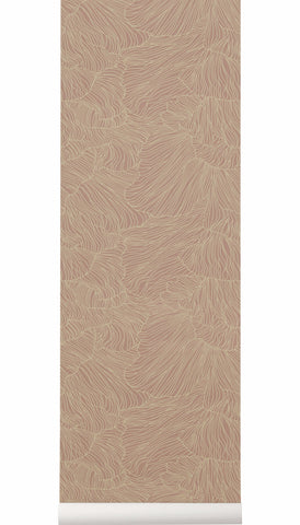 Coral Wallpaper in Dusty Rose & Beige design by Ferm Living