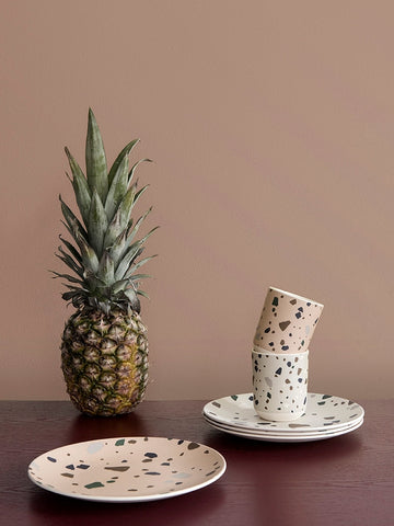 Terrazzo Bamboo Plate in Grey by Ferm Living