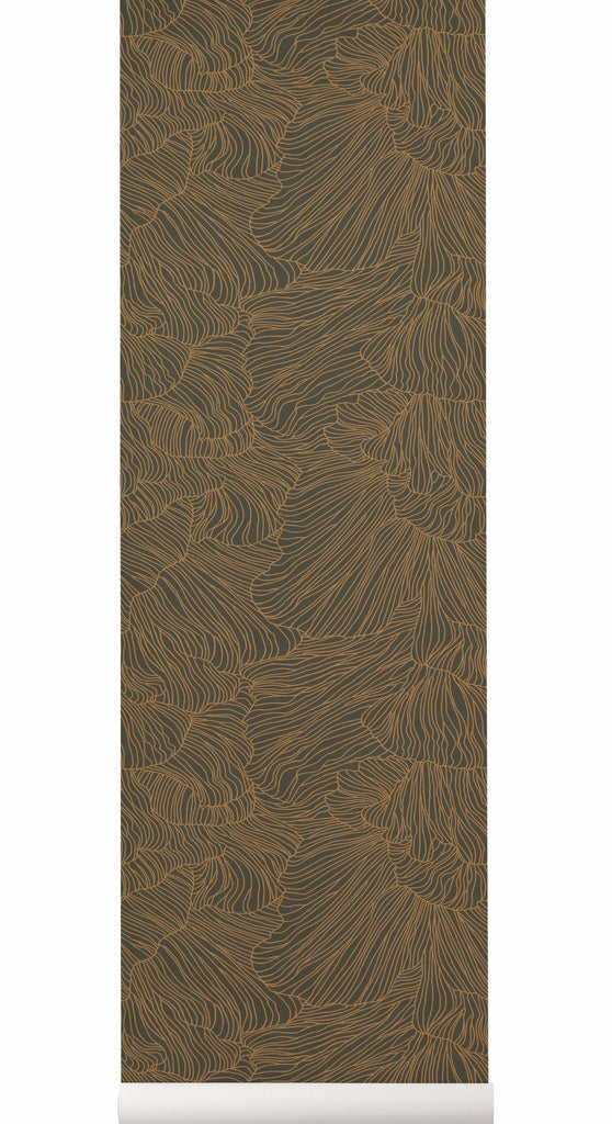 Coral Wallpaper in Dark Green & Gold by Ferm Living