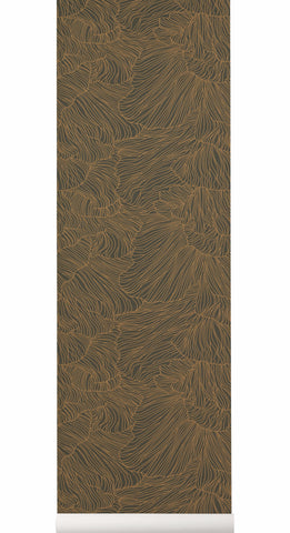 Coral Wallpaper in Dark Green & Gold design by Ferm Living