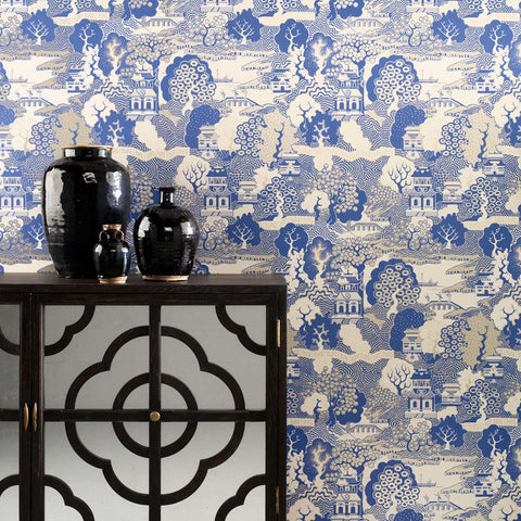 Summer Palace Wallpaper in blue and beige Color by Osborne & Little