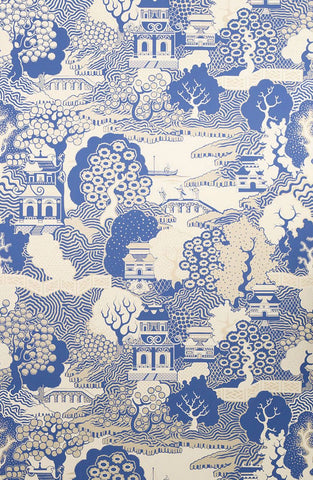 Sample Summer Palace Wallpaper in blue and beige Color by Osborne & Little
