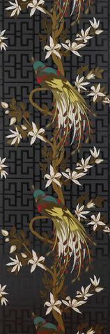Sample Paradiso Wallpaper in black and multi-color by Nina Campbell