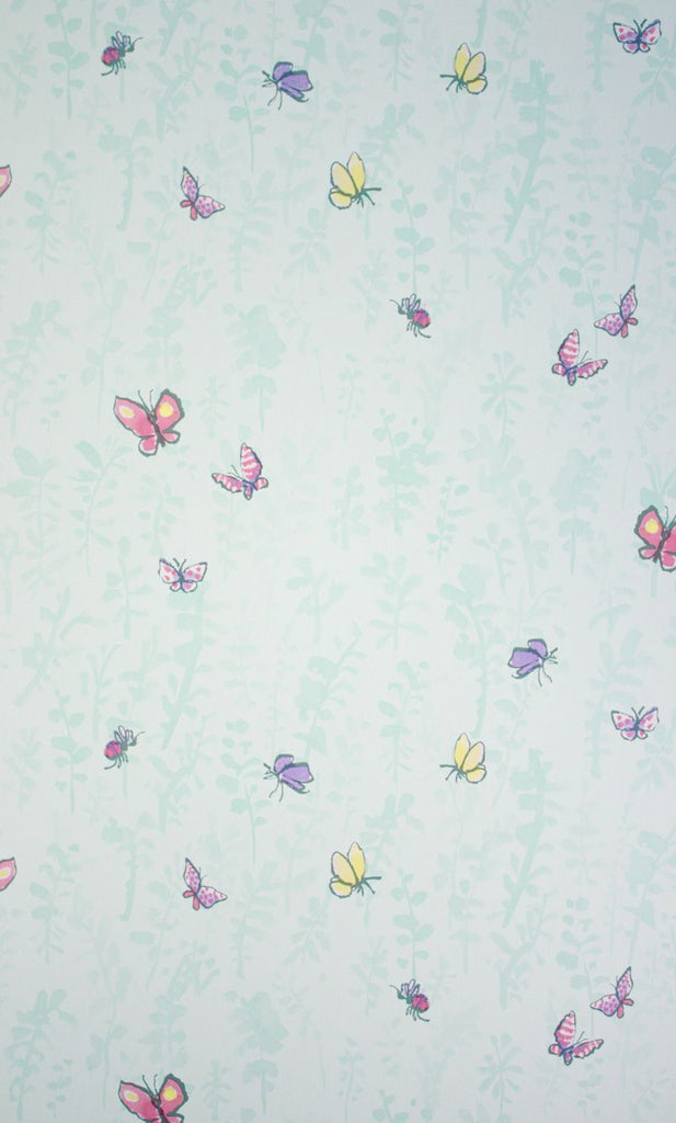 Sample Butterfly Meadow Wallpaper in turquoise from the Zagazoo Collection by Osborne & Little