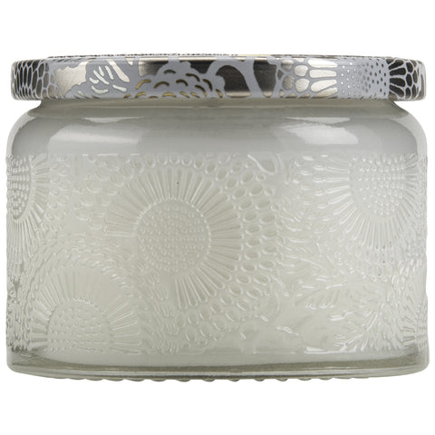 Petite Embossed Glass Jar Candle in Mokara design by Voluspa