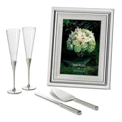 With Love Silver Toasting Flutes, Pair by Vera Wang