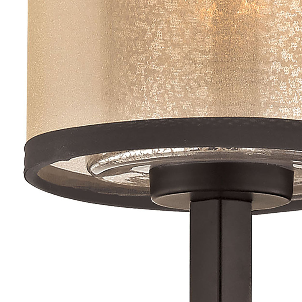 Diffusion 1-Light Wall Lamp in Oiled Bronze with Organza and Mercury Glass by BD Fine Lighting