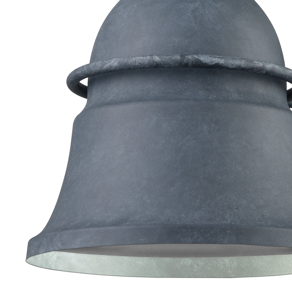Langhorn 1-Light 12 x 11 x 8 Outdoor Wall Lamp in Aged Zinc by BD Fine Lighting