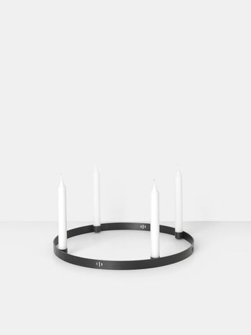 Candle Holder Circle in Black Brass by Ferm Living