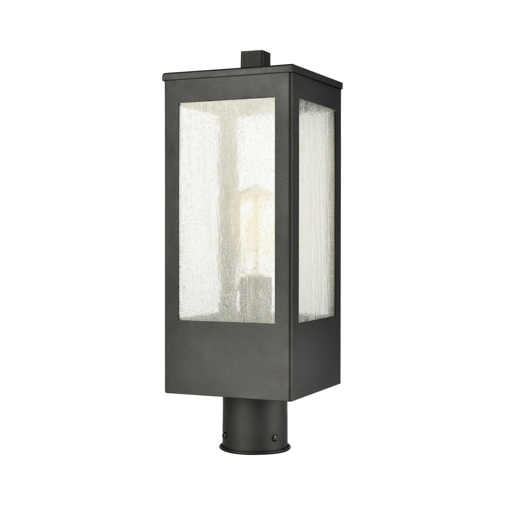 Angus 1-Light Outdoor Post Mount in Charcoal with Seedy Glass Enclosure by BD Fine Lighting