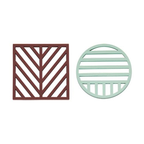 Gotoku Trivets in Aubergine and Pale Mint design by OYOY