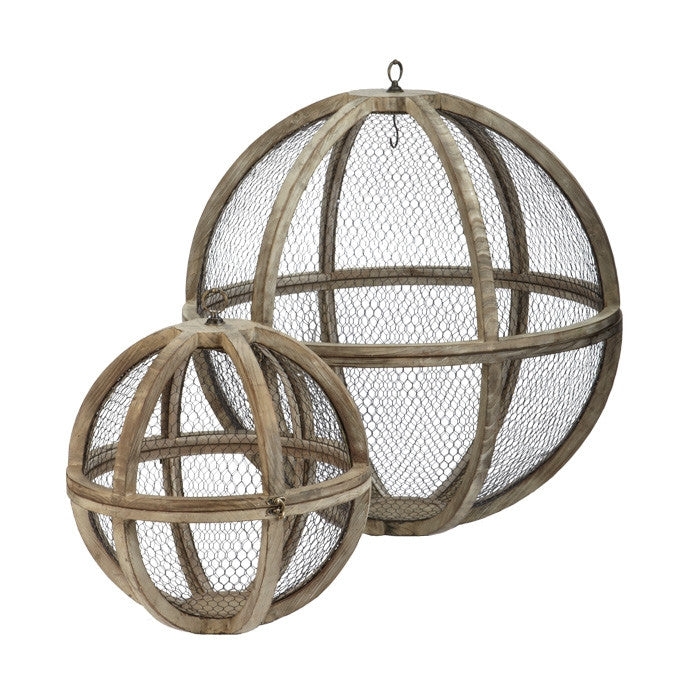 Set of Two Wire Atlas Spheres design by Lazy Susan