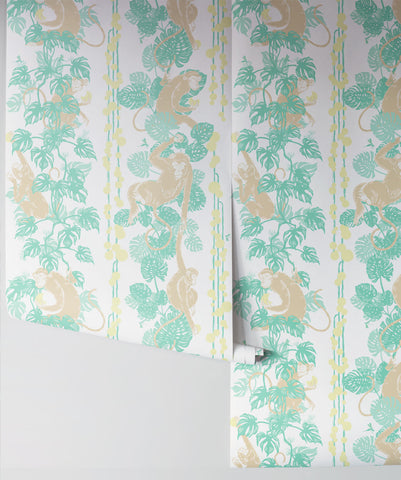 5 Monkeys Wallpaper in Hawaii from the Kingdom Home Collection by Milton & King