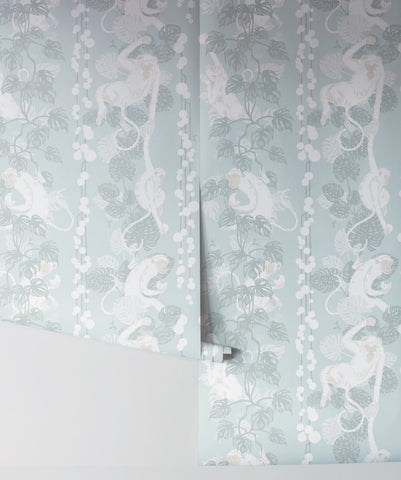 5 Monkeys Wallpaper in Soft Blue from the Kingdom Home Collection by Milton & King