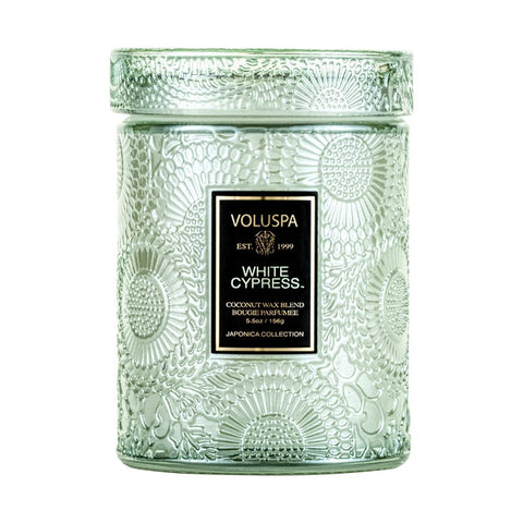 Small Embossed Glass Jar Candle in White Cypress by Voluspa