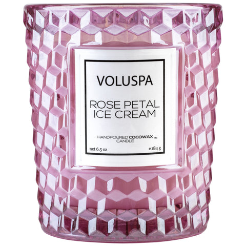 Classic Textured Glass Candle in Rose Petal Ice Cream design by Voluspa