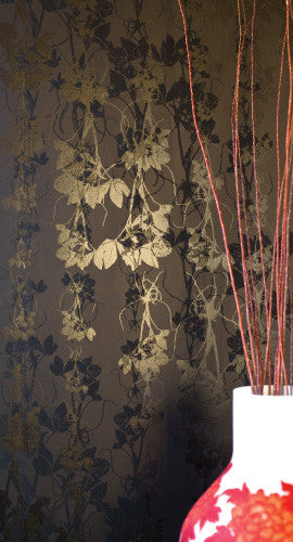 Sleeping Briar Rose Wallpaper in Noir design by Jill Malek