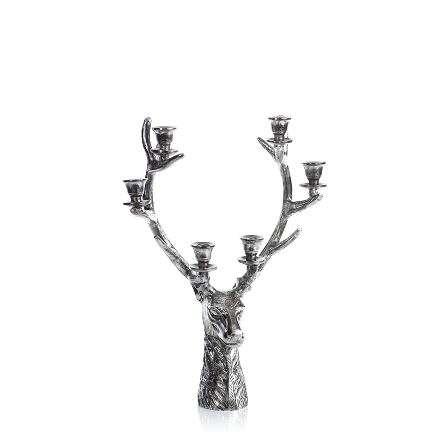 6-Tier Silver Stag Head Candle Holder in Various Sizes