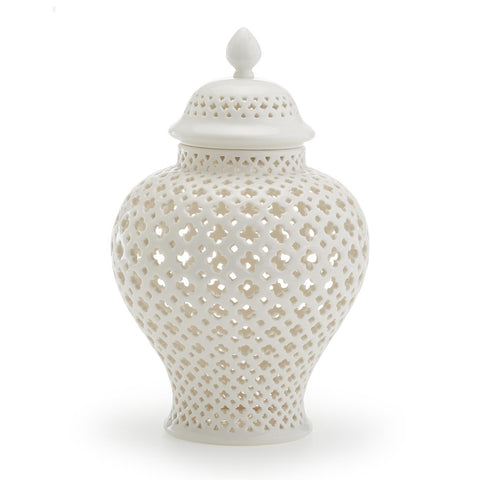Medium Carthage Pierced Covered Lantern design by Twos Company