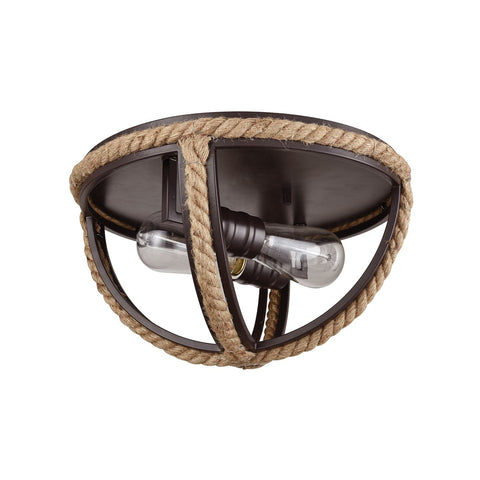 Natural Rope 2 Flush Mount in Oil Rubbed Bronze
