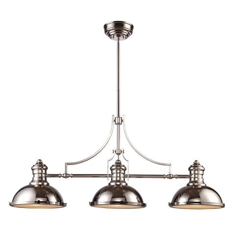 Chadwick 3-Light Island Light in Polished Nickel with Matching Shades by BD Fine Lighting