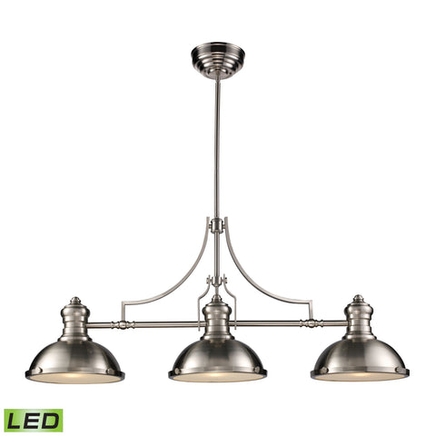 Chadwick 3-Light Island Light in Satin Nickel with Matching Shade - Includes LED Bulbs by BD Fine Lighting