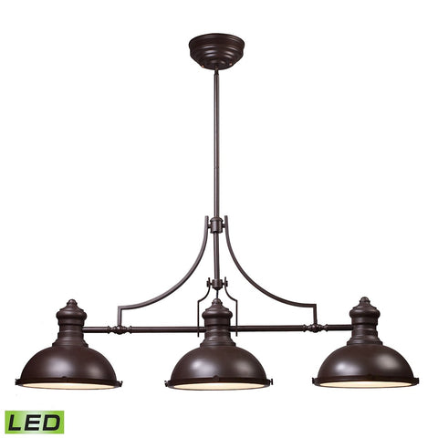 Chadwick 3-Light Island Light in Oiled Bronze with Matching Shade - Includes LED Bulbs by BD Fine Lighting