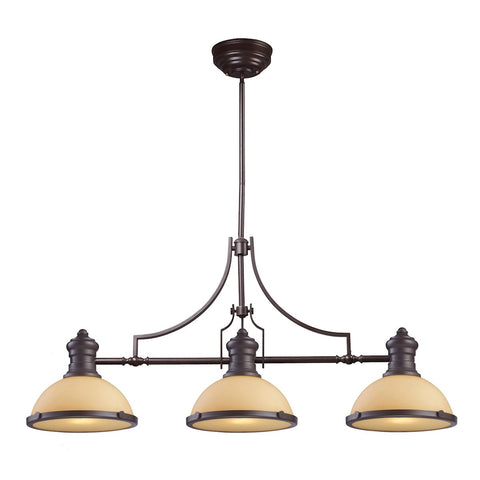 Chadwick 3-Light Island Light in Oiled Bronze with Off-white Glass by BD Fine Lighting