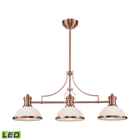 Chadwick 3-Light Island Light in Antique Copper with White Glass - Includes LED Bulbs by BD Fine Lighting