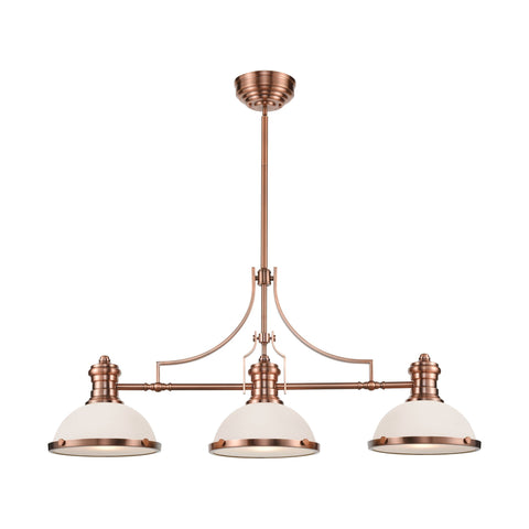 Chadwick 3-Light Island Light in Antique Copper with White Glass by BD Fine Lighting
